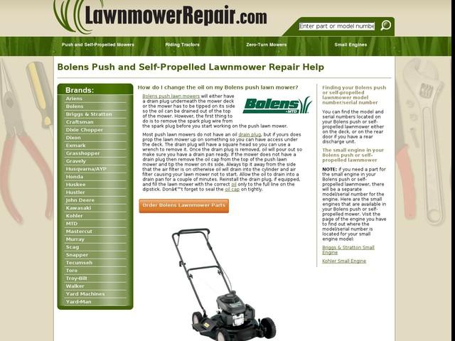 Bolens Push Self-Propelled Lawn Mower Repair Help and Parts