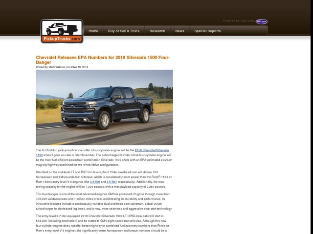 Chevrolet Releases EPA Numbers for 2019 Silverado 1500 Four-Banger