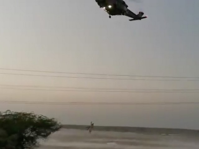Video: Dramatic helicopter rescue after car is stuck in flood