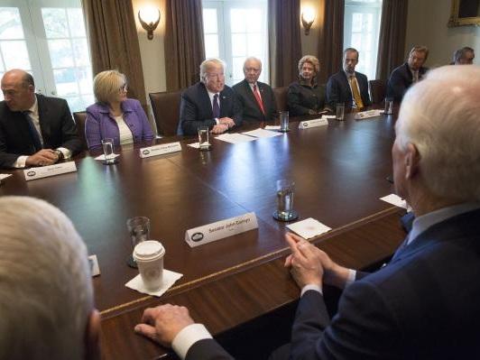 Trump promotes tax plan to GOP, Dem senators at White House