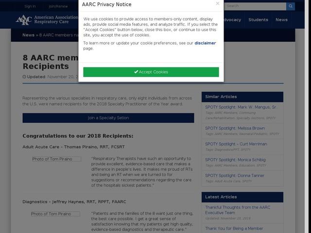 8 AARC members named 2018 SPOTY Recipients