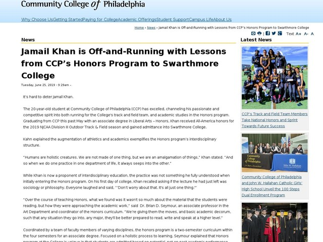 Jamail Khan is Off-and-Running with Lessons from CCP's Honors Program to Swarthmore College