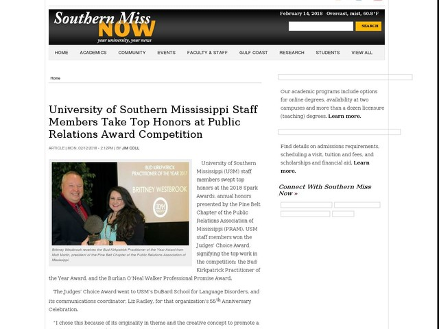 University of Southern Mississippi Staff Members Take Top Honors at Public Relations Award Competition