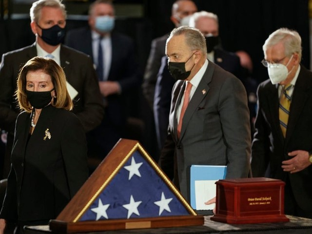Pelosi, McConnell, and other lawmakers pay their respects to Brian Sicknick, the Capitol Police officer who was killed in pro-Trump riot