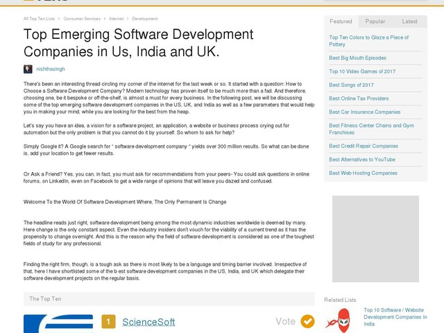 Top Emerging Software Development Companies in Us, India and UK.