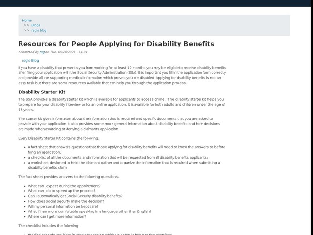 Resources for People Applying for Disability Benefits