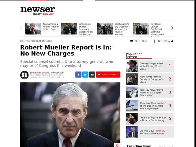 Robert Mueller Report Is In: No New Charges