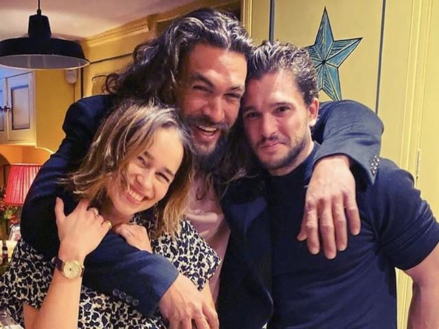 """Emilia Clarke, Jason Momoa, and Kit Harington Reunite in Adorably """"Hairy"""" Birthday Snap"""