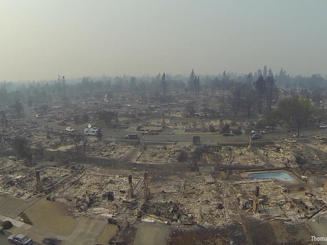 Drone footage shows sweeping wildfire destruction in Santa Rosa neighborhood