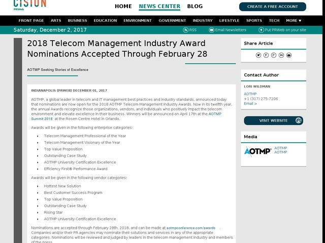 2018 Telecom Management Industry Award Nominations Accepted Through...