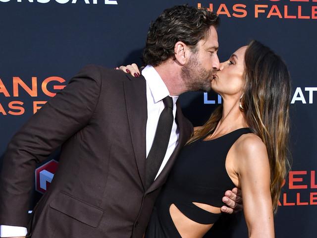 Gerard Butler & Girlfriend Morgan Brown Share a Red Carpet Kiss at 'Angel Has Fallen' Premiere