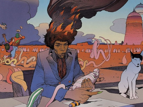 Behold Moebius' Many Psychedelic Illustrations of Jimi Hendrix
