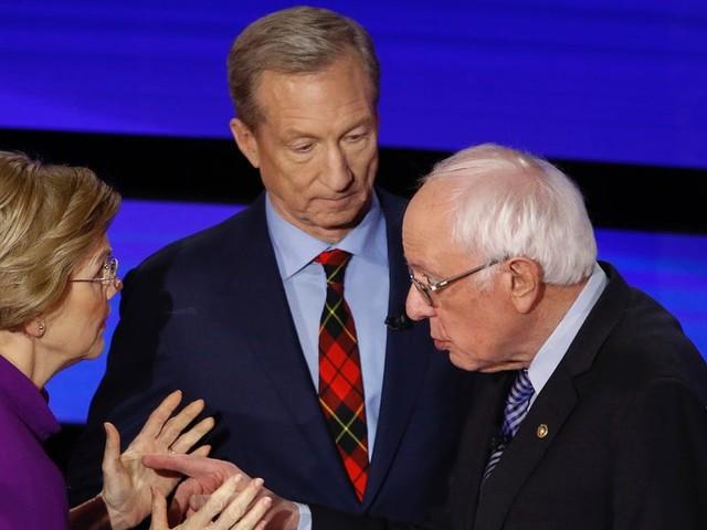 Tom Steyer gets his big moment by awkwardly interrupting Bernie Sanders and Elizabeth Warren's post-debate exchange