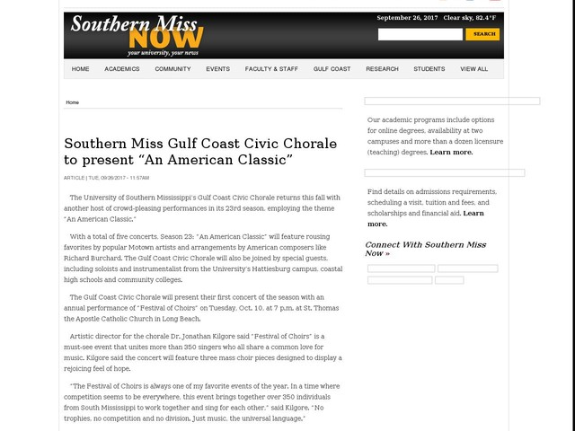 """Southern Miss Gulf Coast Civic Chorale to present """"An American Classic"""""""