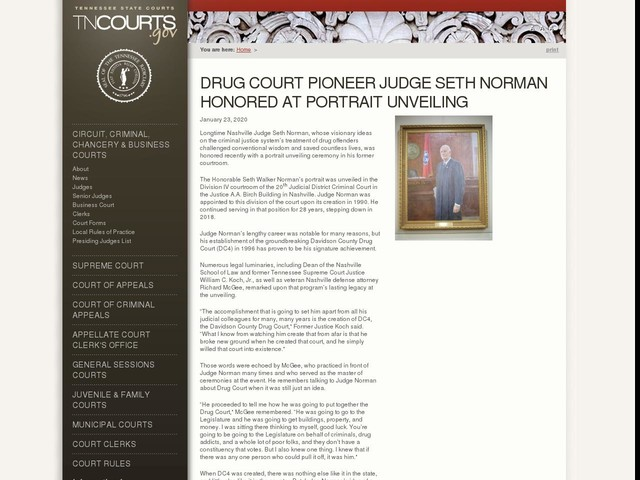 Drug Court Pioneer Judge Seth Norman Honored At Portrait Unveiling