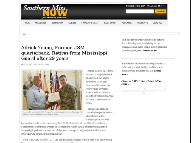 Ailrick Young, Former USM quarterback, Retires from Mississippi Guard after 29 years