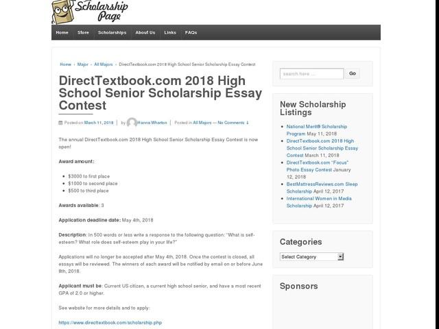 DirectTextbook.com 2018 High School Senior Scholarship Essay Contest