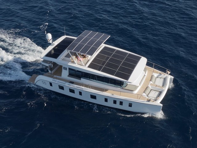 A solar-powered yacht that claims to be virtually silent as it cruises is on the market for $1.54 million — here's a look inside