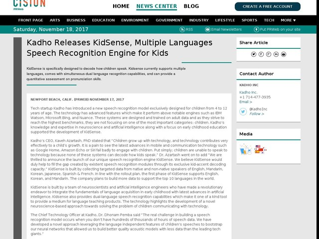 Kadho Releases KidSense, Multiple Languages Speech Recognition Engine...