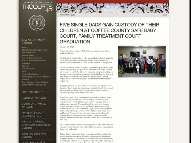 Five Single Dads Gain Custody Of Their Children At Coffee County Safe Baby Court, Family Treatment Court Graduation