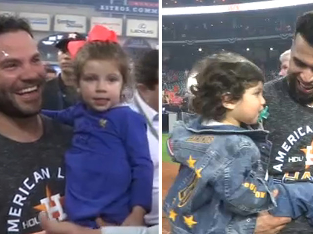 Astros stars celebrate big win with their families on the field