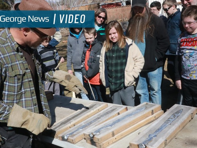 Local students make weapons of molten metal, thanks to help of 'Sword Casting Guy'