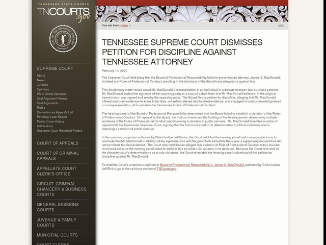 Tennessee Supreme Court Dismisses Petition For Discipline Against Tennessee Attorney