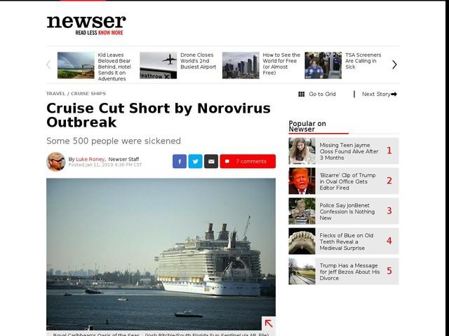 Cruise Cut Short by Norovirus Outbreak