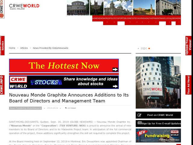 Nouveau Monde Graphite Announces Additions to Its Board of Directors and Management Team