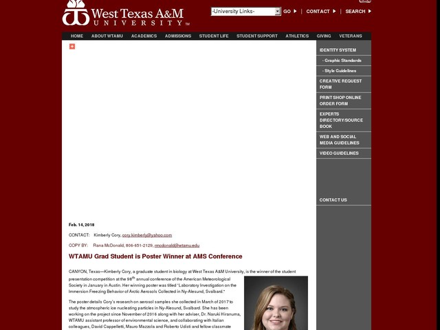 WTAMU Grad Student is Poster Winner at AMS Conference
