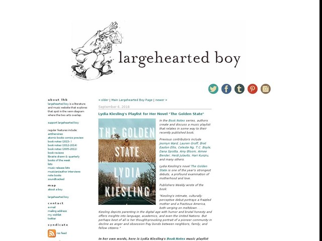 """Lydia Kiesling's Playlist for Her Novel """"The Golden State"""""""
