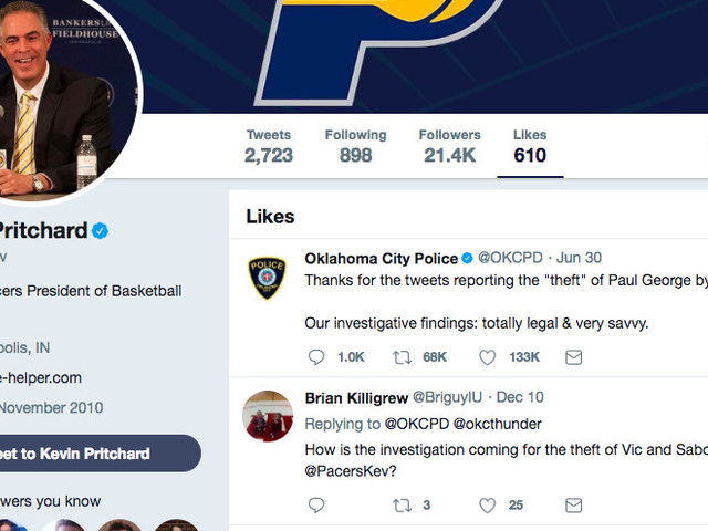 The Pacers' GM is wonderfully petty 'liking' tweets about the Paul George trade