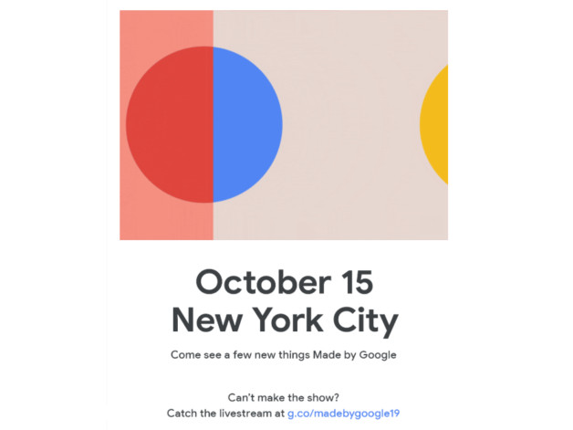Made by Google Pixel 4 event set for October 15th in New York City