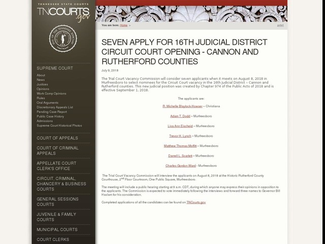 Seven Apply for 16th Judicial District Circuit Court Opening - Cannon and Rutherford Counties