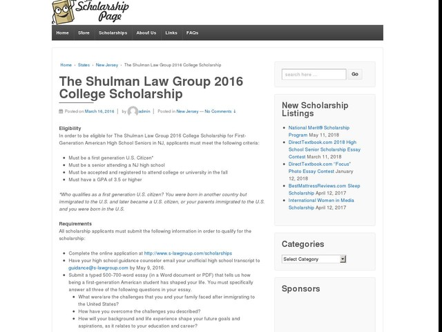The Shulman Law Group 2016 College Scholarship