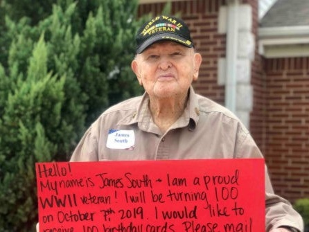 Texas WWII Veteran Receives 60K Cards for His 100th Birthday