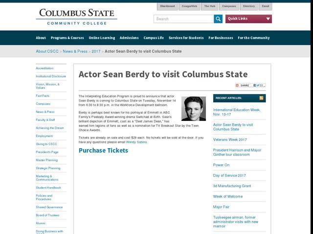 Actor Sean Berdy to visit Columbus State