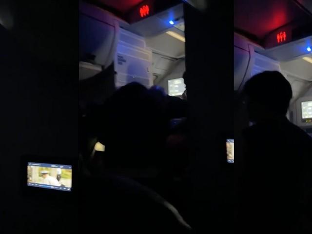 Video: Passenger seemingly attempts to open exit door mid-flight, gets in altercation with flight crew
