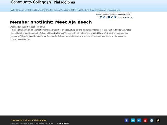Member spotlight: Meet Aja Beech