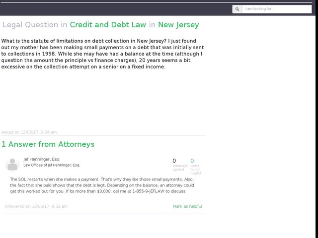 What is the statute of limitations on debt collection in New...