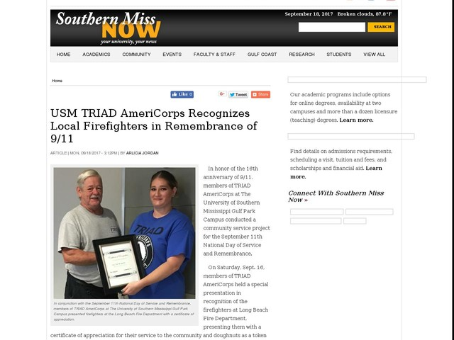 USM TRIAD AmeriCorps Recognizes Local Firefighters in Remembrance of 9/11