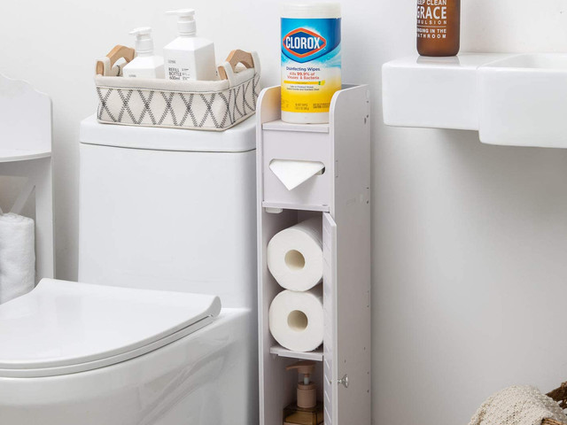 Amazon shoppers are obsessed with this storage cabinet for small bathrooms – now it's only $22!