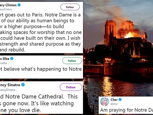 Public figures and celebrities around the world react with shock and horror as Notre Dame burns