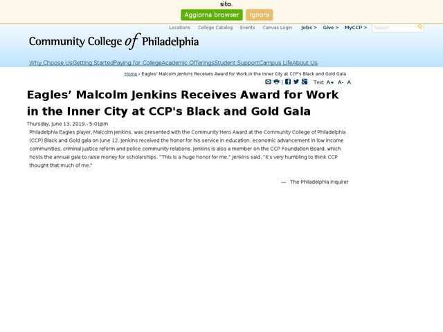 Eagles' Malcolm Jenkins Receives Award for Work in the Inner City at CCP's Black and Gold Gala