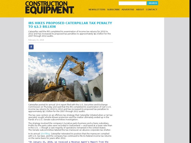 IRS Hikes Proposed Caterpillar Tax Penalty To $2.3 Billion