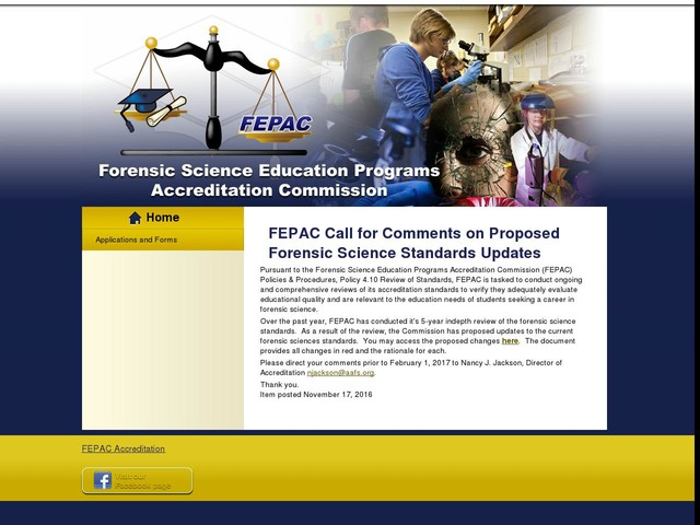 FEPAC Call for Comments on Proposed Forensic Science Standards Updates
