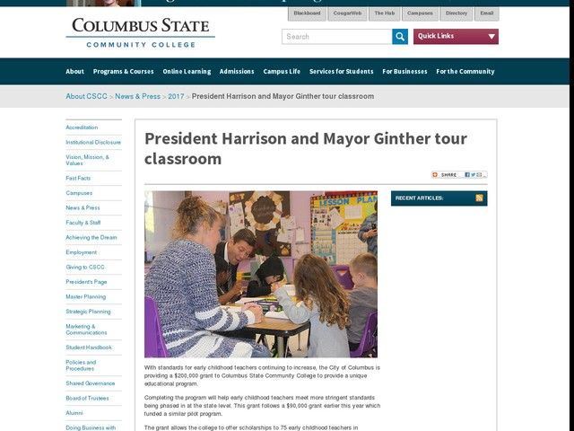 President Harrison and Mayor Ginther tour classroom