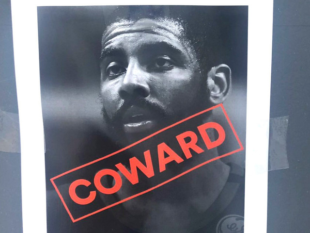 Kyrie Irving 'coward' posters surround Celtics arena