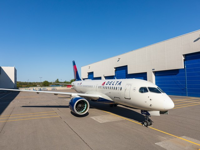 Here's Our Look at Delta's First Airbus A220-100, Fresh out of the Paint Shop