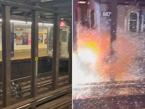 Moment Citi Bike explodes on the tracks of a Queens subway after man 'rolled' it on to the tracks